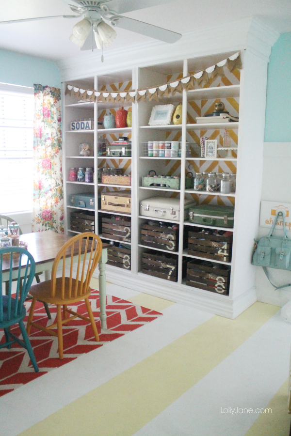 hi creative readers kristi and i were invited to share our craft room in a magazine guess our herringbone bookcase caught their attention
