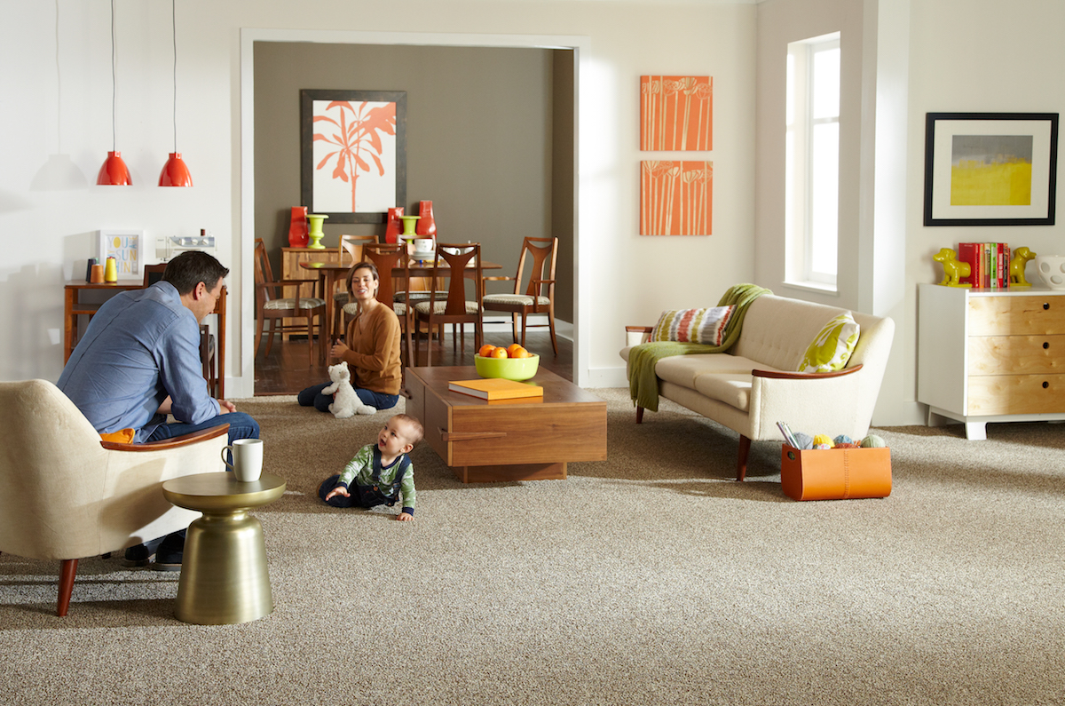 SmartStrand carpet in the living room with family